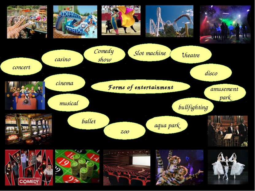Forms of entertainment amusement park bullfighting disco aqua park zoo ballet...