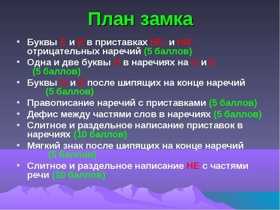 План замка Буквы Е и И в приставках НЕ- и НИ- отрицательных наречий (5 баллов...