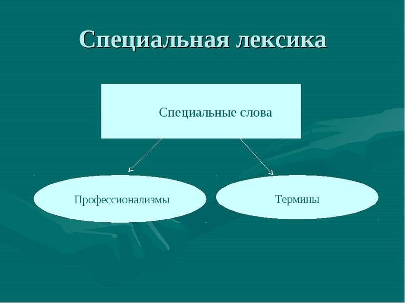 Специальная лексика Специальные слова Профессионализмы Термины