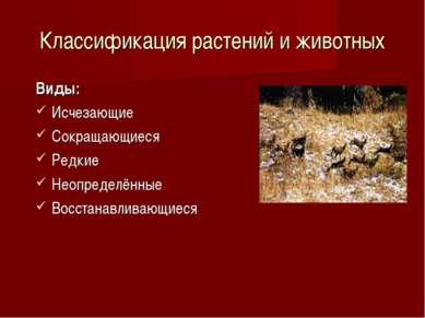 Классификация растений и животных Виды: Исчезающие Сокращающиеся Редкие Неопр...