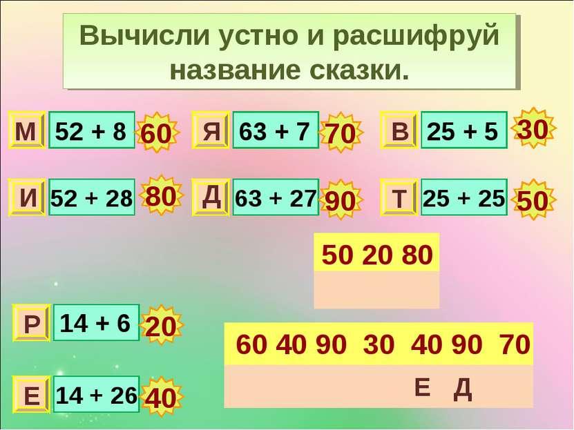 Вычисли устно и расшифруй название сказки. 52 + 8 52 + 28 63 + 7 63 + 27 25 +...