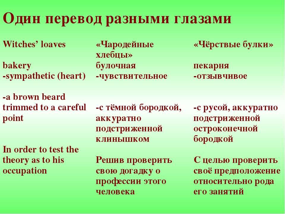 Один перевод разными глазами Witches' loaves bakery -sympathetic (heart) -a b...