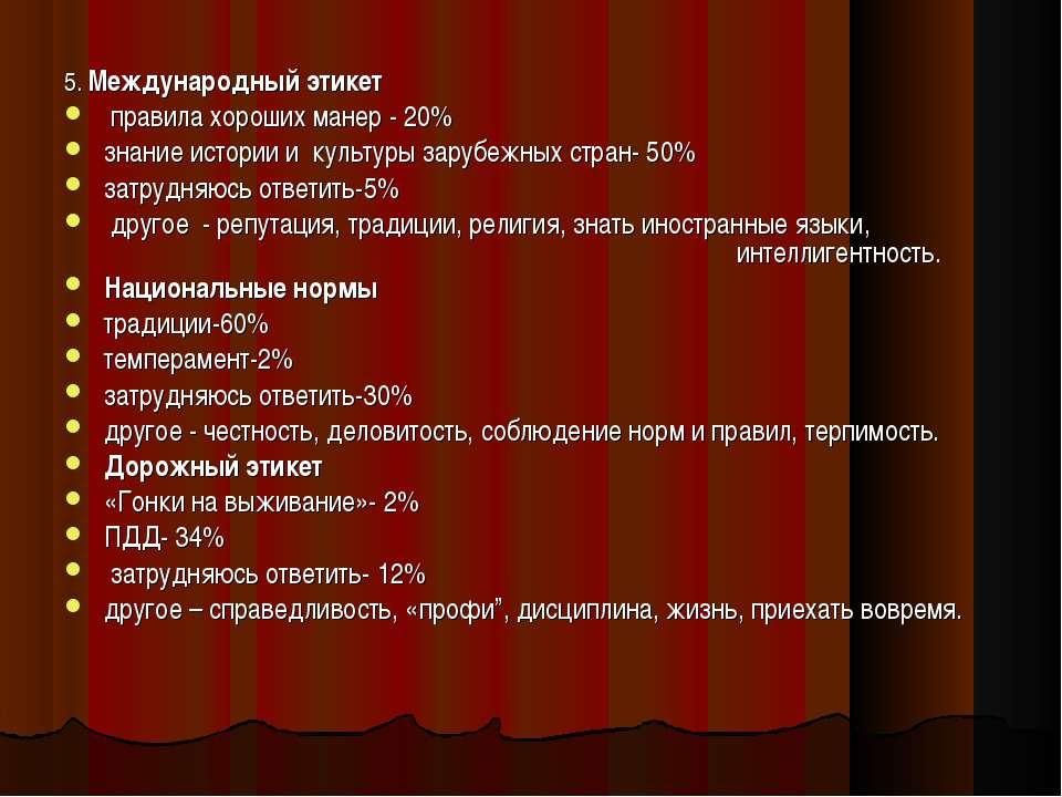 5. Международный этикет правила хороших манер - 20% знание истории и культуры...