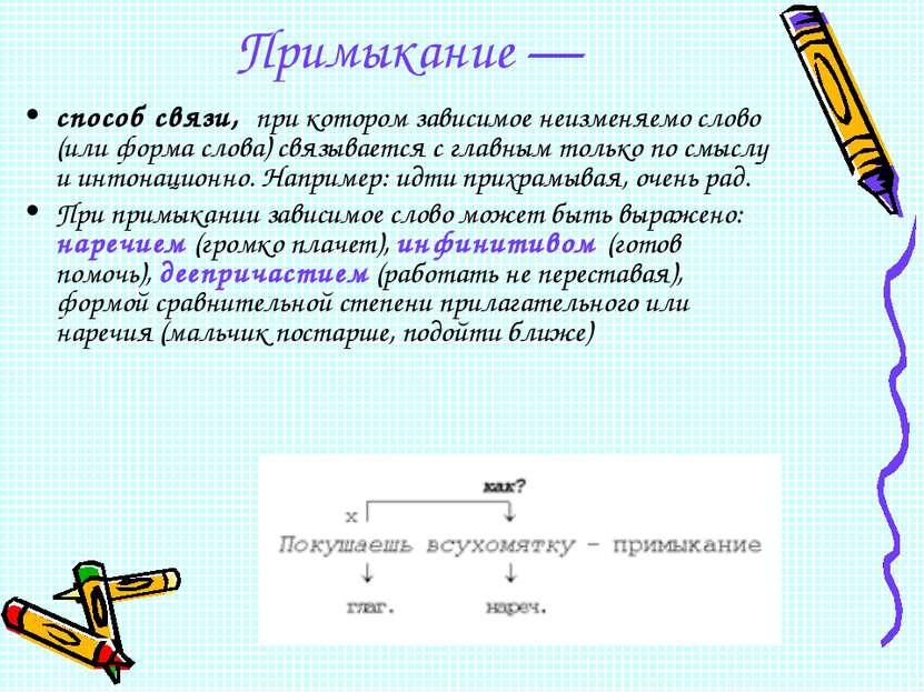 Примыкание — способ связи, при котором зависимое неизменяемо слово (или форма...