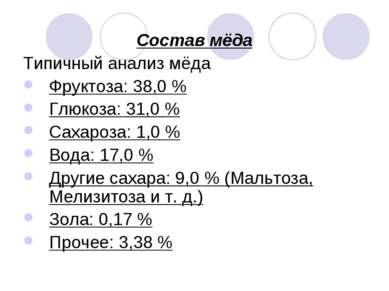 Состав мёда Типичный анализ мёда Фруктоза: 38,0% Глюкоза: 31,0% Сахароза: 1...
