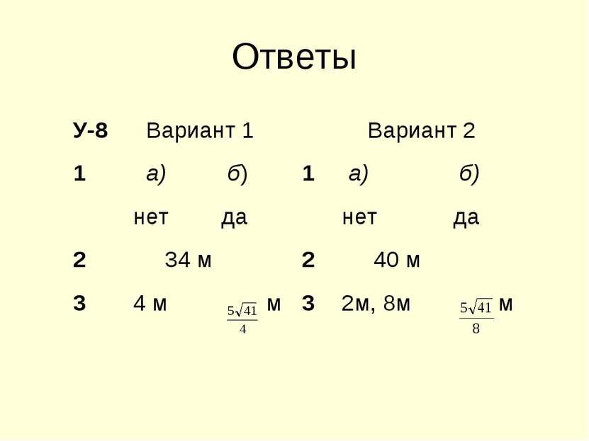 Ответы У-8 Вариант 1 Вариант 2 1 а) б) 1 а) б) нет да нет да 2 34 м 2 40 м 3 ...