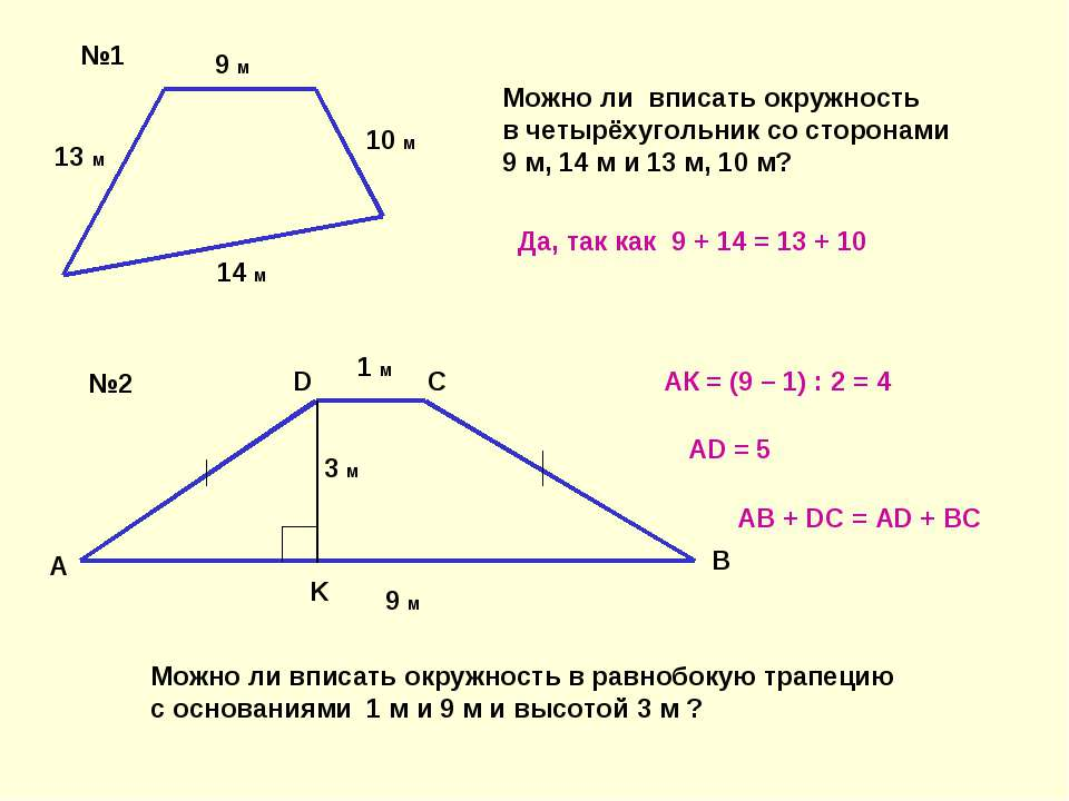 13 м 9 м 10 м 14 м 1 м 9 м 3 м A B C D K №1 №2 Можно ли вписать окружность в ...