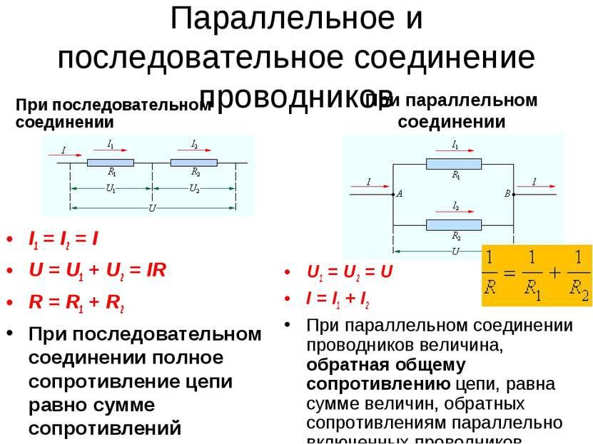 Параллельное и последовательное соединение проводников I1=I2=I U=U1+U...