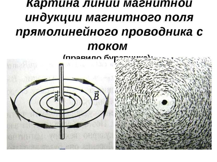 Картина линий магнитной индукции магнитного поля прямолинейного проводника с ...