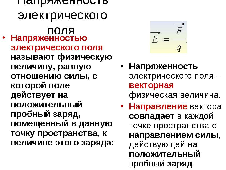 Напряженность электрического поля Напряженностью электрического поля называют...