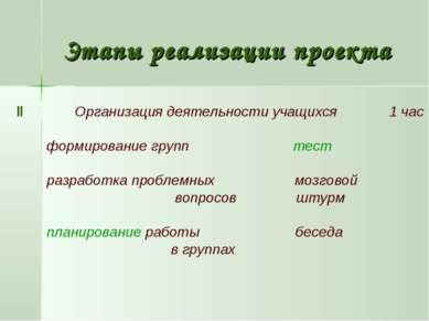 Этапы реализации проекта Организация деятельности учащихся 1 час формирование...