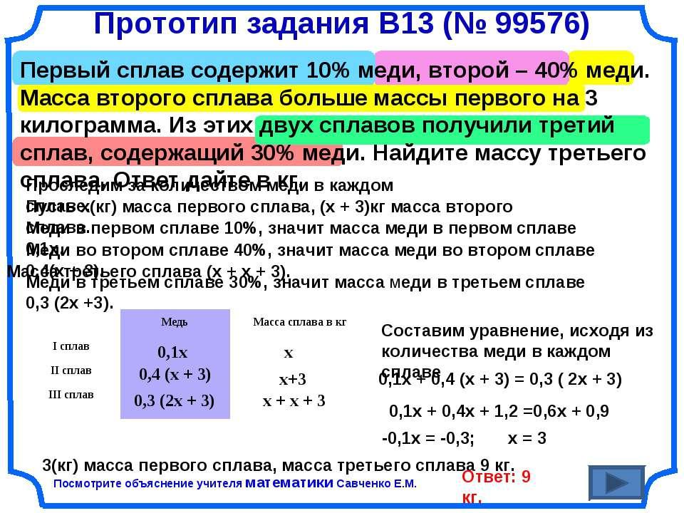 Прототип задания B13 (№ 99576) Первый сплав содержит 10% меди, второй – 40% м...