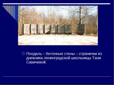 Поодаль – бетонные стены – странички из дневника ленинградской школьницы Тани...