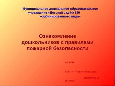 Муниципальное дошкольное образовательное учреждение «Детский сад № 350 комбин...