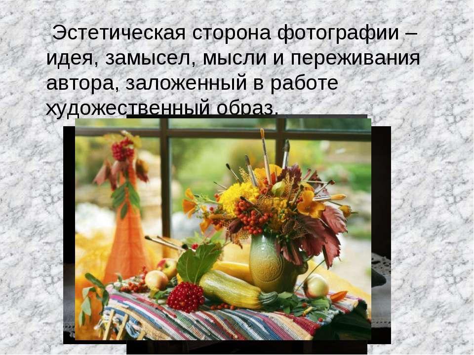 Эстетическая сторона фотографии – идея, замысел, мысли и переживания автора, ...