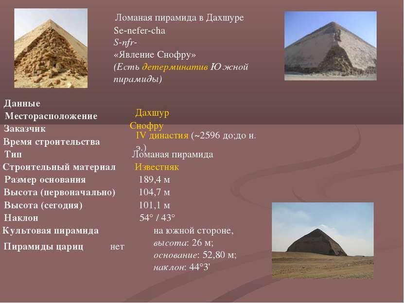 Ломаная пирамида в Дахшуре Se-nefer-cha S-nfr-ḫˁ «Явление Снофру» (Есть детер...