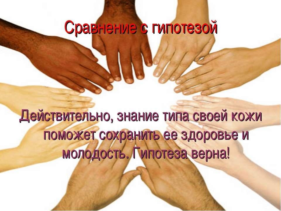 Сравнение с гипотезой Действительно, знание типа своей кожи поможет сохранить...