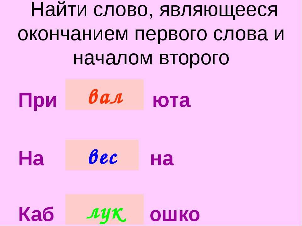 Найти слово, являющееся окончанием первого слова и началом второго При / .......