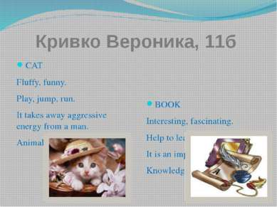 Кривко Вероника, 11б СAT Fluffy, funny. Play, jump, run. It takes away aggres...