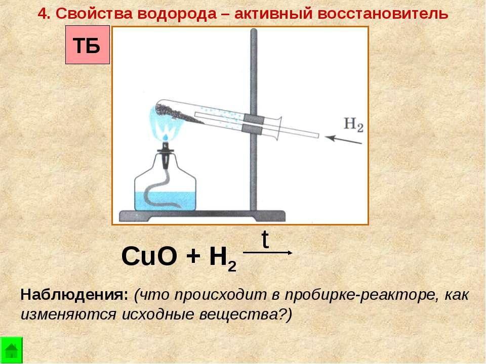 CuO + Н2 t 4. Свойства водорода – активный восстановитель Наблюдения: (что пр...