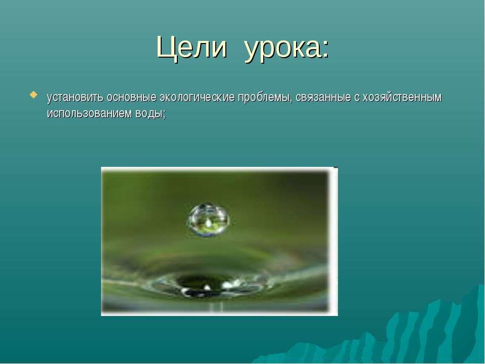 Цели урока: установить основные экологические проблемы, связанные с хозяйстве...