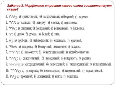 Задание 3. Морфемное строение какого слова соответствует схеме?