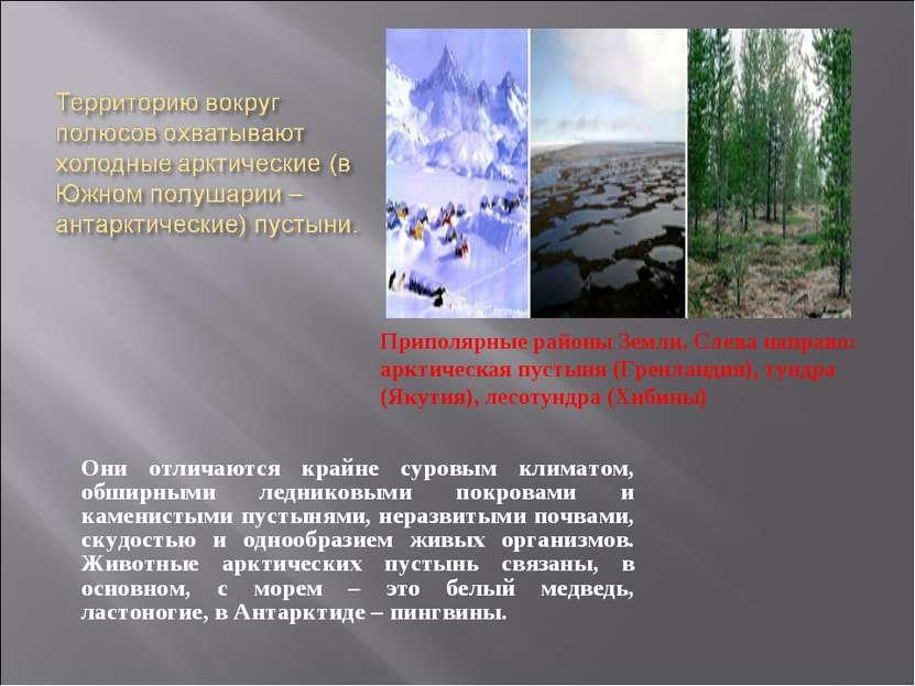 Они отличаются крайне суровым климатом, обширными ледниковыми покровами и кам...