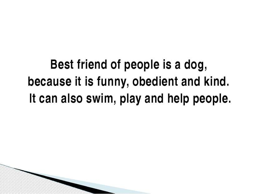 Best friend of people is a dog, because it is funny, obedient and kind. It ca...