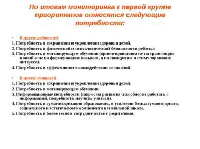 По итогам мониторинга к первой группе приоритетов относятся следующие потребн...