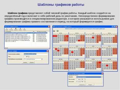 Шаблоны графиков работы Шаблон графика представляет собой типовой график рабо...