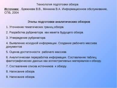 Технология подготовки обзора Источник: . Брежнева В.В., Минкина В.А. Информац...