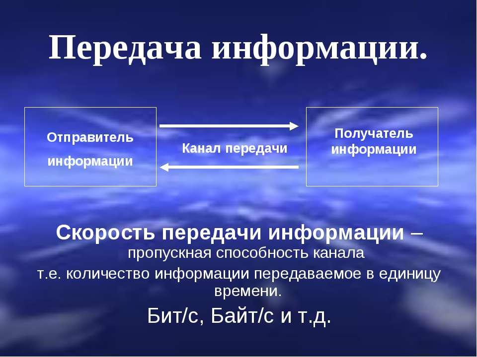 Передача информации. Скорость передачи информации – пропускная способность ка...