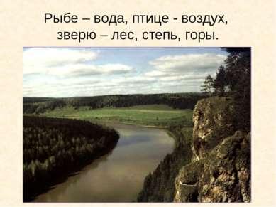 Рыбе – вода, птице - воздух, зверю – лес, степь, горы.