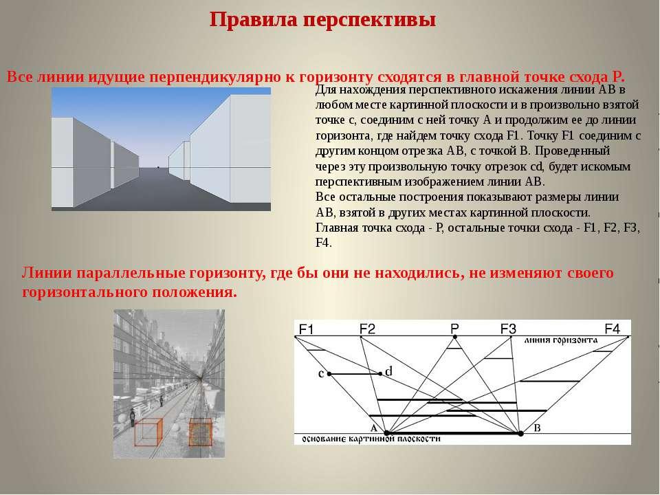 Правила перспективы Все линии идущие перпендикулярно к горизонту сходятся в г...