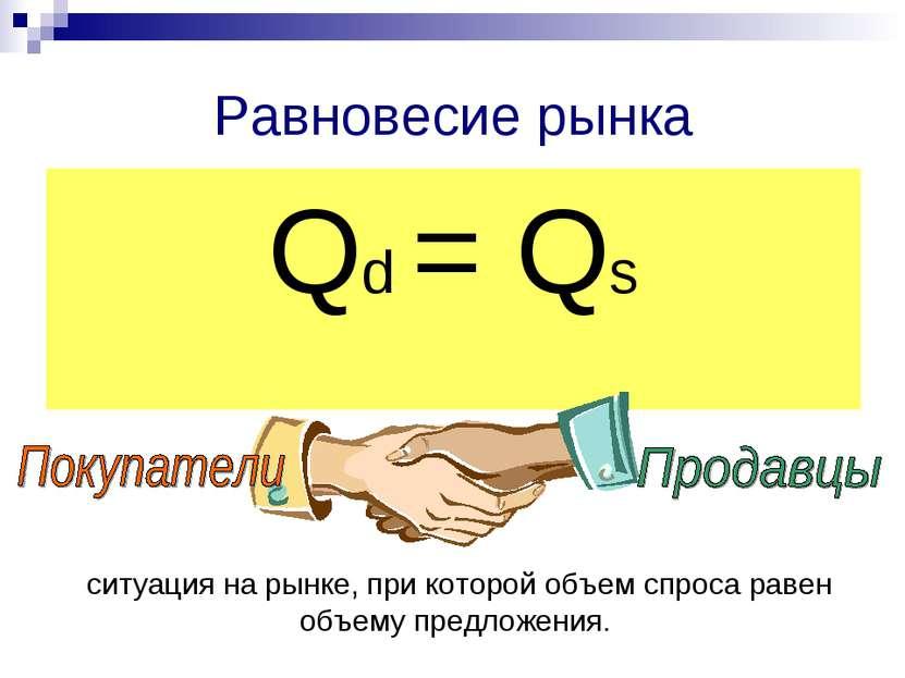 Равновесие рынка Qd = Qs ситуация на рынке, при которой объем спроса равен об...