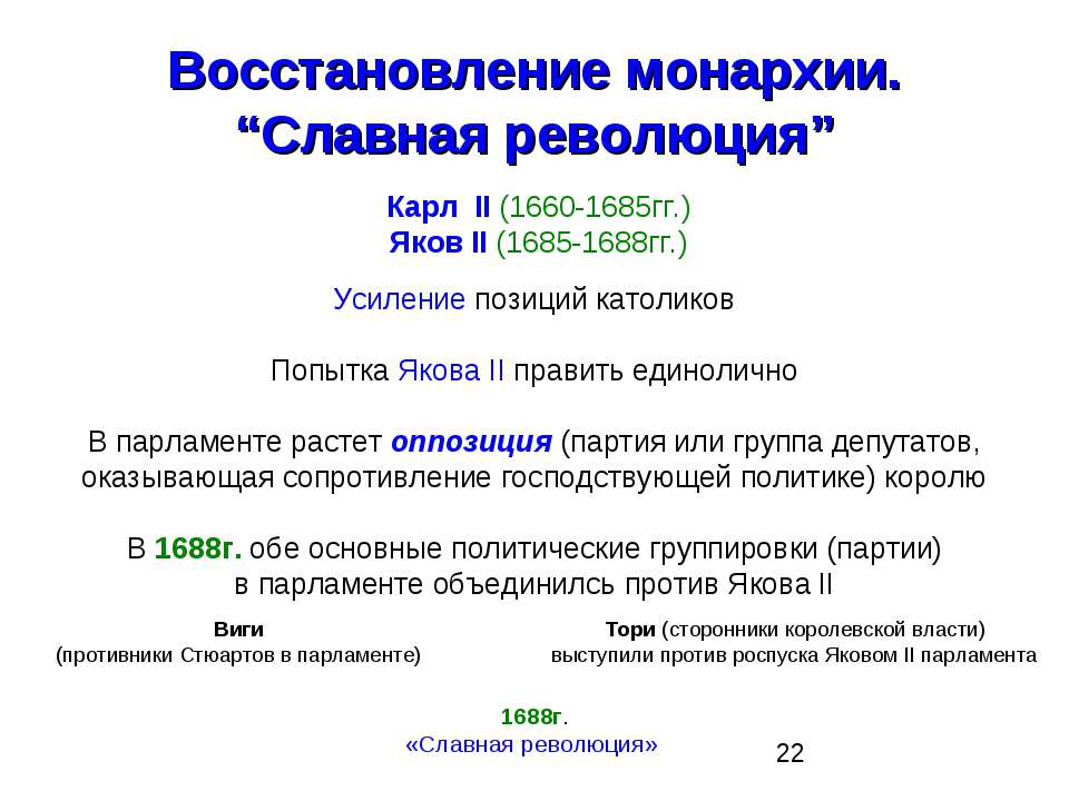"""Восстановление монархии. """"Славная революция"""" Карл II (1660-1685гг.) Яков II (..."""