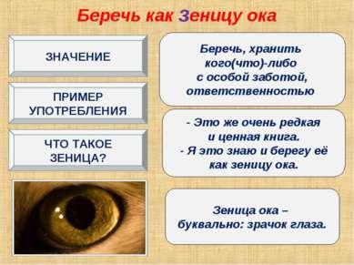Беречь как зеницу ока Беречь, хранить кого(что)-либо с особой заботой, ответс...