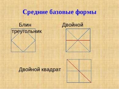 Средние базовые формы Блин Двойной треугольник Двойной квадрат