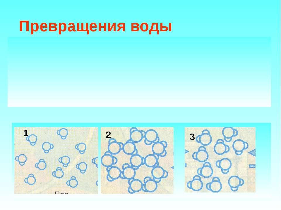Превращения воды Вода в природе находится в трёх состояниях: Твёрдое Жидкое Г...