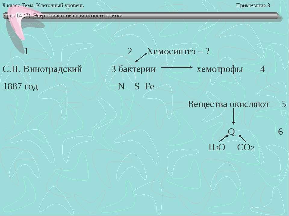 9 класс Тема. Клеточный уровень Примечание 8 Урок 14 (7). Энергетические возм...