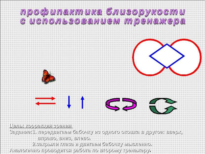 Цель: коррекция зрения Задание:1. передвигаем бабочку из одного окошка в друг...
