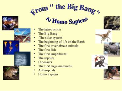 The introduction The Big Bang The solar system The beginning of life on the E...