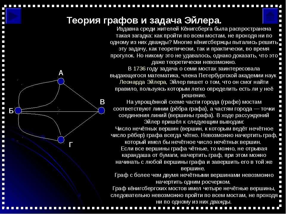 Теория графов и задача Эйлера. Издавна среди жителей Кёнигсберга была распрос...