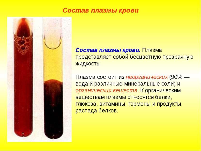 Состав плазмы крови. Плазма представляет собой бесцветную прозрачную жидкость...
