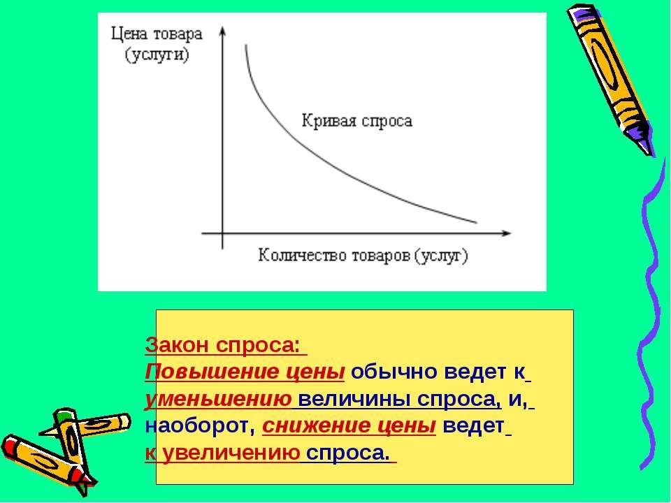 Закон спроса: Повышение цены обычно ведет к уменьшению величины спроса, и, на...