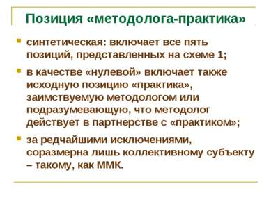 Позиция «методолога-практика» синтетическая: включает все пять позиций, предс...