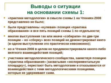 Выводы о ситуации на основании схемы 1: «практики методологии» в смысле схемы...