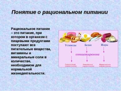 Понятие о рациональном питании Рациональное питание – это питание, при которо...