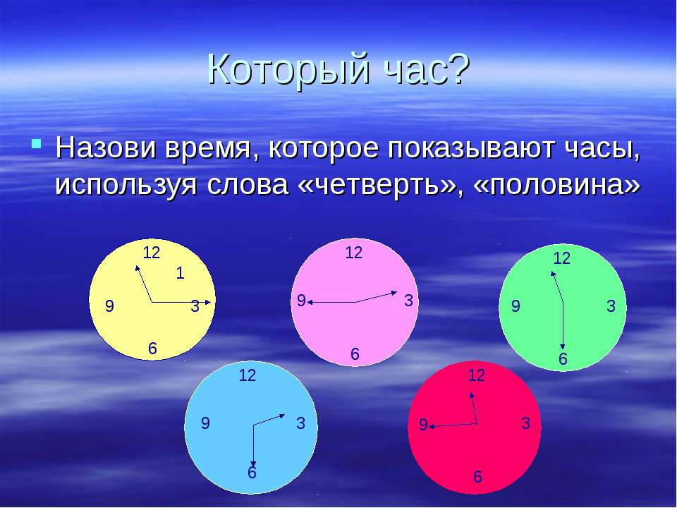 Который час? Назови время, которое показывают часы, используя слова «четверть...