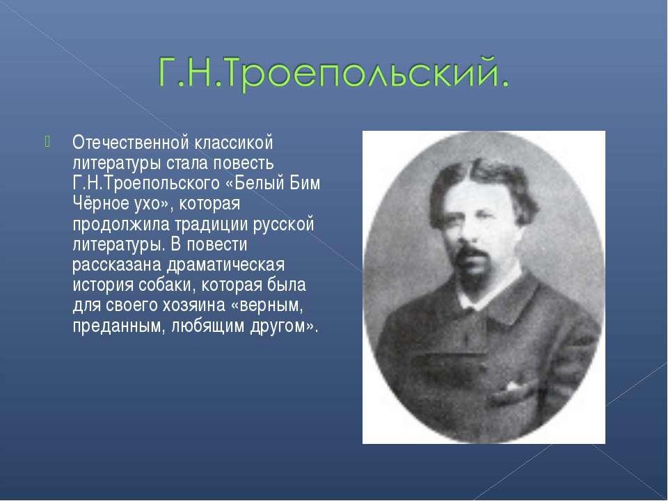 Отечественной классикой литературы стала повесть Г.Н.Троепольского «Белый Бим...